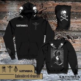 "BATUSHKA - ""SHEMA MONK WHITE EMBROIDERED"" ZIPPER HOODIE"